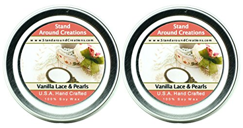 Premium 100% Soy Candles - Set of 2- 2 oz Tins- Vanilla Lace And Pearls- A blend of French vanilla w/ African vanilla w/ sweet flower and - Tart Pearl