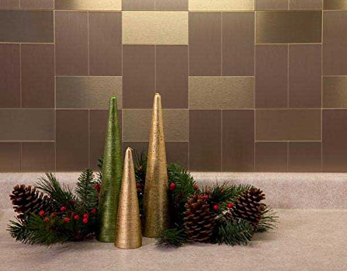 Peel And Tiles Ceramic Stick (Aspect Peel and Stick Backsplash 3in x 6in Brushed Champagne Long Grain Metal Tile for Kitchen and Bathrooms (8-pack))
