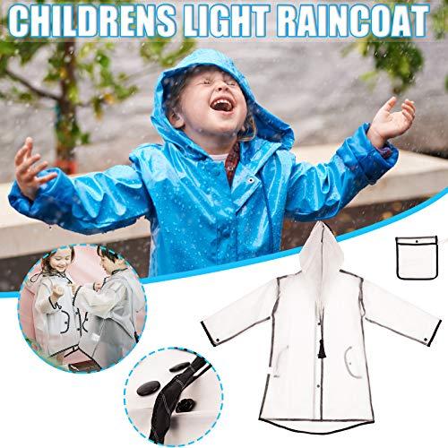Impermeable universal para niños y niñas, niños bicicleta deportes al aire libre impermeable impermeable chaqueta con capucha ligero transpirable conveniente impermeable a prueba de viento(Claro,S)