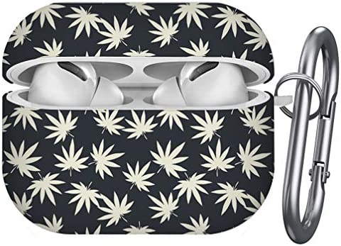 [ Compatible with Airpods Pro ] Shockproof Soft TPU Gel Case Cover with Keychain Carabiner for Apple AirPods (Cannabis Marijuana Leaves)