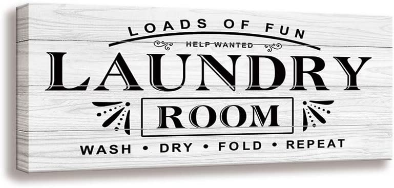 Laundry Wall Art Sign - Vintage Family Bathroom Laundry Rule Canvas Printing Laundry Antique Wood Wall Decoration Plaques (8 X 16 inch, Laundry-W)