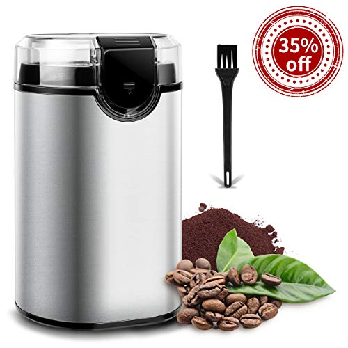 Coffee Grinder Electric Spice Grinder, Keenstone Stainless Steel Blades Grinder for Coffee Bean Seed Nut Spice Herb Pepper, Brushed Stainless Steel Texture, Transparent Lid with 70g Big Capacity Silver