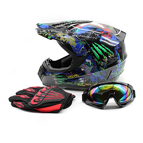WUPYI Youth Kids Motocross Helmets Offroad Helmet Gloves Goggles DOT Certification Motocross Helmet Motorcycle ATV Dirt Bike (Fashion 1 L) ()