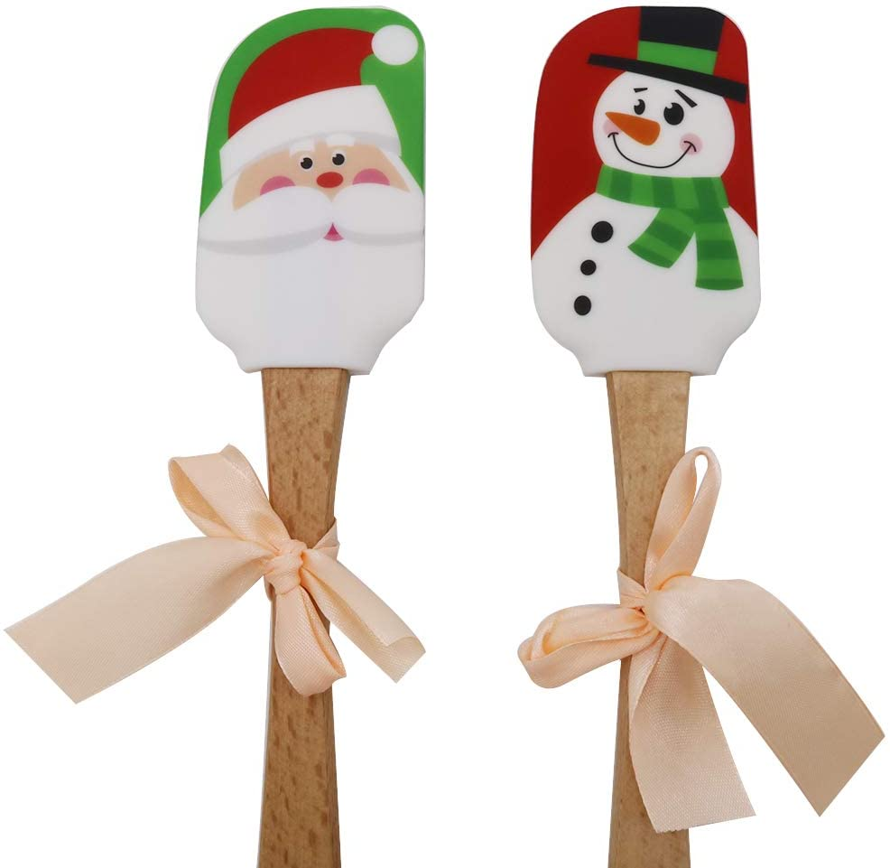 Details about  /AG/_ Silicone Spatula Christmas Pattern Wood Handle Kitchen Baking Tool Gift Enga