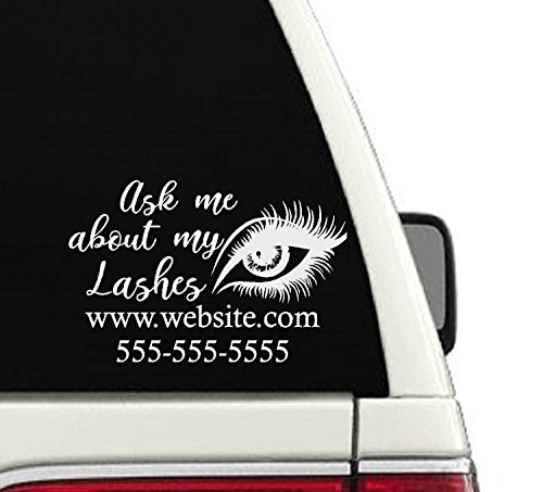 Ask Me About My Lashes Custom Car Decal - (CD11)