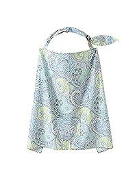 HuaYang Mum Mother Women Cotton Cover Baby Infant Breastfeeding Nursing Blanket Shawl - Blue