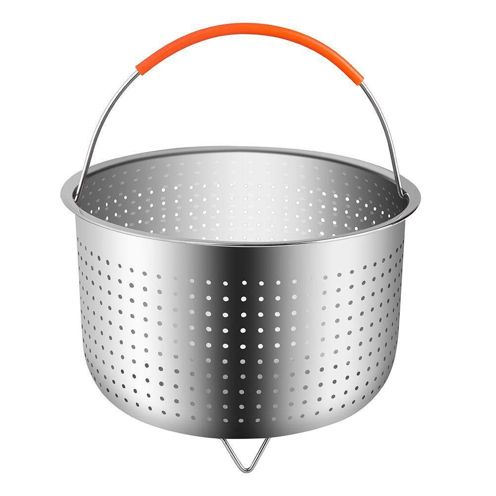 Highjump 304 Stainless Steel Steamers Insert with Silicone Covered Handle,Steamer Basket Accessories For Instant Pot Pressure Cooker,Anti-scald Steamer Multi-Function Fruit Cleaning Basket