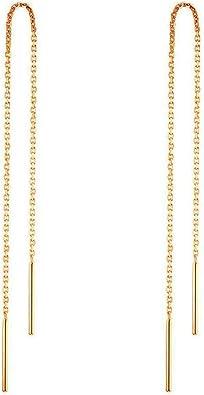Oferta amazon: RUBOBUC 14 k Pendientes de Oro para Mujer Pendientes Colgantes Hilo de Rosca Pendientes Colgantes Minimalismo Pendiente de Cadena Larga sumergido