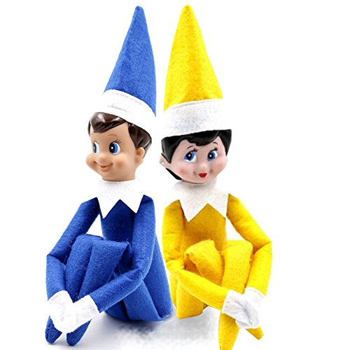 Miraise Christmas Elf on Shelf Toy Plush Dolls Boy and Girl Decorations (Royal Blue and Yellow)