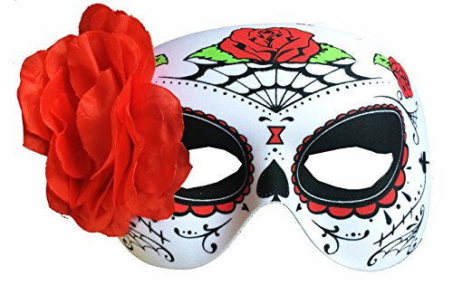 Day of The Dead Rose & Webs Half Mask With 4.5