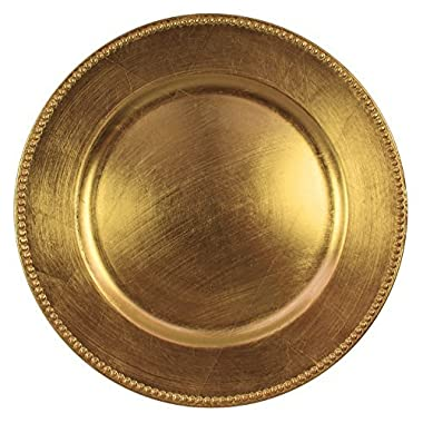 Charge It By Danny Gold Beaded Round Charger Plates Premium Finest Quality, Set of (6)