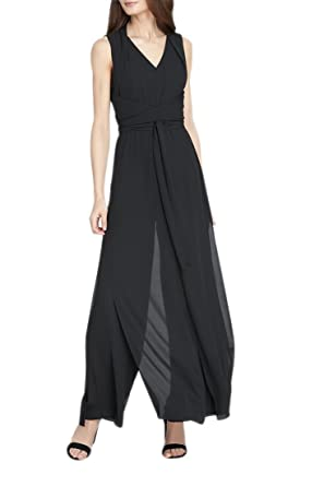 43999a6df58 Amazon.com  Tahari Women s Double Georgette Jumpsuit - Black  Clothing