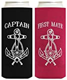 Captain First Mate Nautical Sailing Couples 2 Pack Ultra Slim Can Coolie Drink Coolers Coolies Multi
