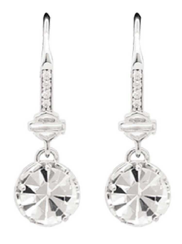 Harley-Davidson Women's Big Bling Clear Crystal Dangle Earrings, Silver HDE0422
