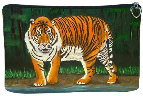 Cosmetic Bag, Zipper Pouch - Zip-top Closer - Taken From My Original Paintings - Animals (Tiger - Emience)