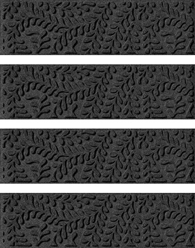 Bungalow Flooring Waterhog Indoor/Outdoor Stair Treads, Set of 4, 8-1/2 x 30 inches, Skid Resistant, Easy to Clean, Catches Water and Debris, Boxwood Collection, Charcoal ()