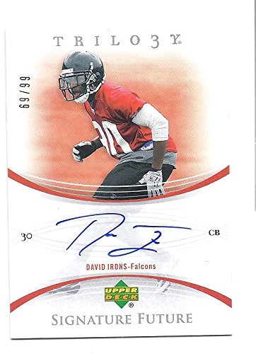 DAVID IRONS 2007 Upper Deck UD Trilogy Signature Future #DI AUTOGRAPH Rookie Card RC #69 of only 99 Made! Atlanta Falcons (2007 David Irons)