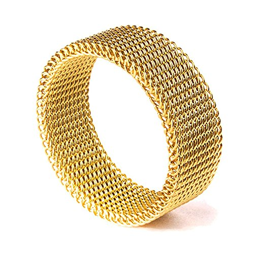 (Milo Bruno 8MM Stainless Steel Mesh Ring (Gold) - 10)