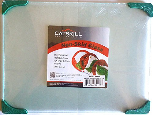 Catskill Craftmen Non-Skid 12 Inch By 16 Inch Tempered Glass Cutting Board (Green)