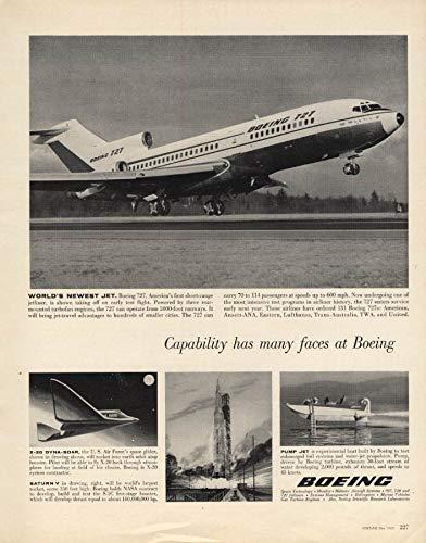 (World's newest jet Boeing 727 X-20 Dyna-Soar Saturn V Rocket ad 1963 F)