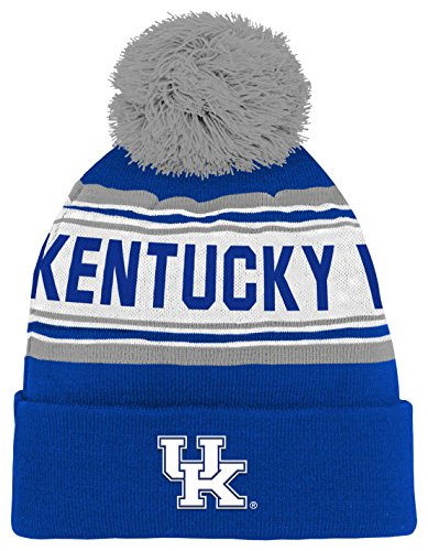 NCAA by Outerstuff NCAA Kentucky Wildcats Kids & Youth Boys Jacquard Cuffed Knit Hat w/ Pom, Royal, Youth One Size