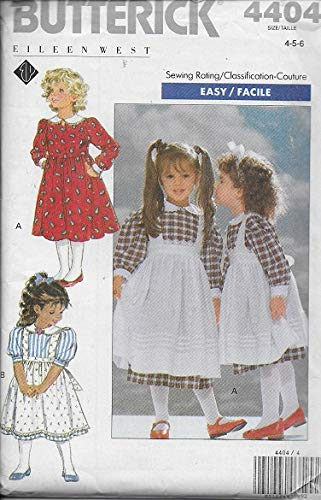 Girls Pinafore Pattern - Butterick 4404 Sewing Pattern Girls Dress and Pinafore Size 4 - 5 - 6