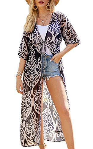 Hibluco Womens Chiffon Beach Blouses Kimono Cardigan Long Bikini Cover Up