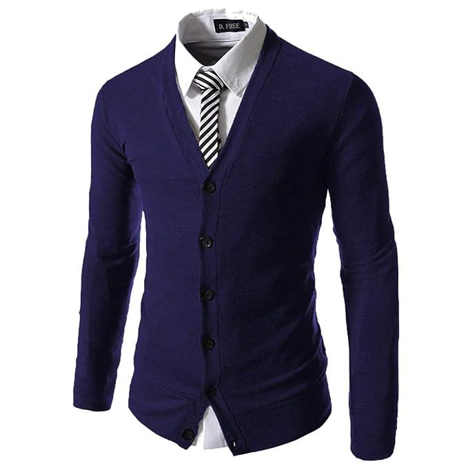 Chaqueta De Punto para Hombre Abrigo Otoño Chaqueta Elegante De De De Vintage Moda Color Sólido