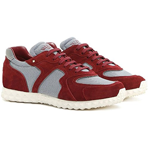 Valentino Men's Burgundy Suede Leather Sneakers Shoes - Size: 10 (Valentino Suede Leather)