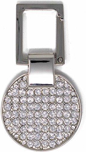 Silver Circle Keychain with Swarovski Rhinestone Crystals
