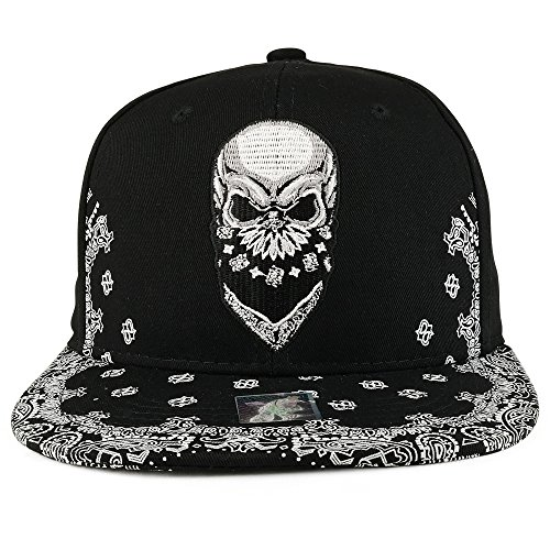e15a3ff26aa Trendy Apparel Shop Skull Bandana Embroidered Snapback with Paisley Print  Flatbill Cap