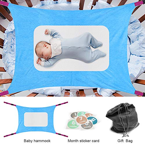 Baby Hammock for Crib, Mimics Womb Newborn Bassinet Hammock Bed, Enhanced Material Double-Layer Breathable Supportive Mesh Metal Buckle Hammocks Durability and Comfort Bed (Blue)