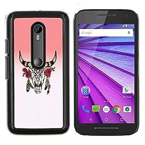 """Be-Star Único Patrón Plástico Duro Fundas Cover Cubre Hard Case Cover Para Motorola Moto G (3rd gen) / G3 ( Cuernos cráneo muerto indio nativo Rose"""" )"""