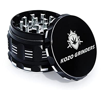"""[Upgraded Version] Best Herb Grinder For Weed With Pollen, Keef Catcher By Kozo Grinders. Large 4 Piece, 2.5"""" Black Aluminium. by Kozo Grinders"""