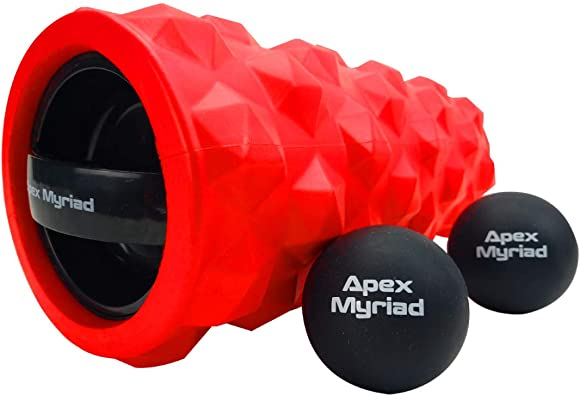 Vibrating Foam Roller High Intensity 3 Speed RECHARGEABLE with TWO Lacrosse Massage Balls includes INSTRUCTION GUIDE POSTER SHOULDER CARY BAG Trigger Point Deep Tissue Muscle Self Electric Massager