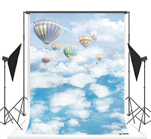 (5x7ft White Clouds and Blue Sky Hot Air Balloon Photo Backgrounds no Wrinkle Photography Backdrops for Newborn)