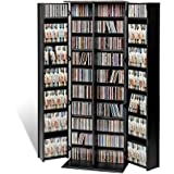 dvd storage cabinet with lock - Media Storage,Tower Racks,Large,Adjustable Shelves,Black Laminate Finish