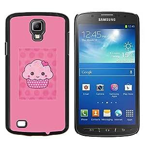 Magdalena de dibujos animados Pink Muffin Lunares- Metal de aluminio y de plástico duro Caja del teléfono - Negro - Samsung i9295 Galaxy S4 Active / i537 (NOT S4)