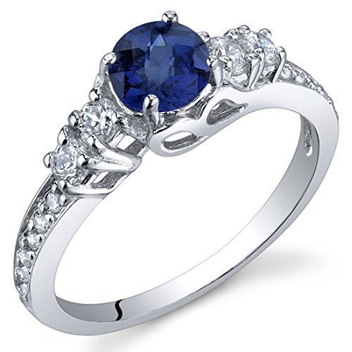Created Sapphire Solistice Ring Sterling Silver Size 7 from Peora