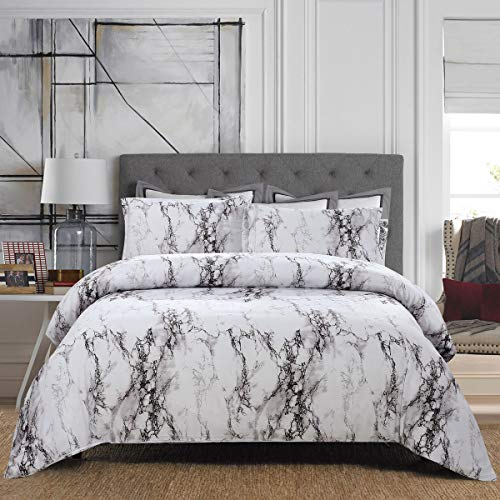 UNIhome Microfiber Duvet Cover Set, Marble Patterns, Reversible Color Design