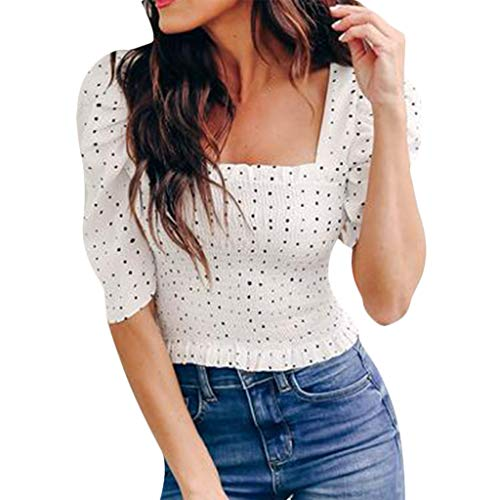 Women's Square Neck Ruffle Pleated Crop Tops Polka Dot Print Elastic T-Shirt Blouse White