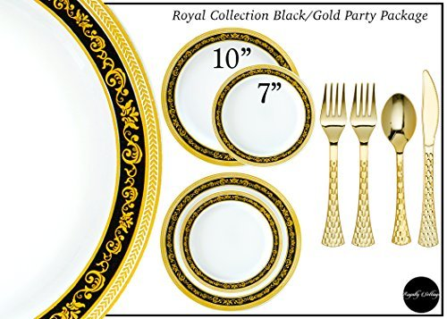 Royalty Settings Royal Collection Hard Plastic Plates for Weddings for 120 Persons, Includes 120 Dinner Plates, 120 Salad Plates, 240 Forks, 120 Spoons, 120 Knives, Black and Gold Rim -