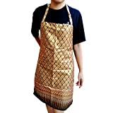 Gold - Thai Luxury Apron with Convenient Pocket Kitchen and Cooking