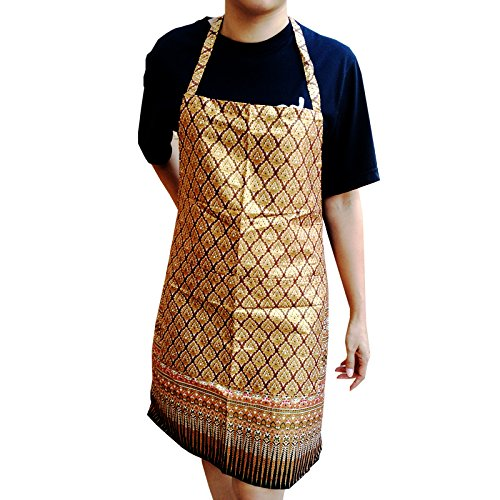 Gold - Thai Luxury Apron with Convenient Pocket Kitchen and Cooking by Patarisa