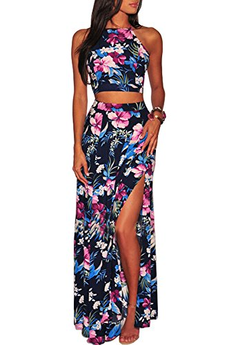 Womens Floral 2 Piece Outfits Sleeveless Halter Neck Backless Crop Top and Split Long Maxi Dress Set Blue L ()