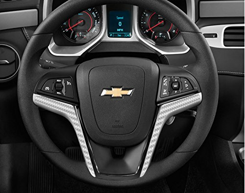 IPG for 2012-2015 Camaro Carbon Fiber Steering Wheel Accent Decal Cove Chevy Wrap Skin Do it Yourself kit 2 Units Set (Grey Carbon Fiber)