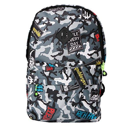 - Yumian Zipper School Bookbags, Travel Nylon Satchel School Shoulder Rucksack Camouflage Bags School Bag Backpack Bookbag (Camouflage Gray)