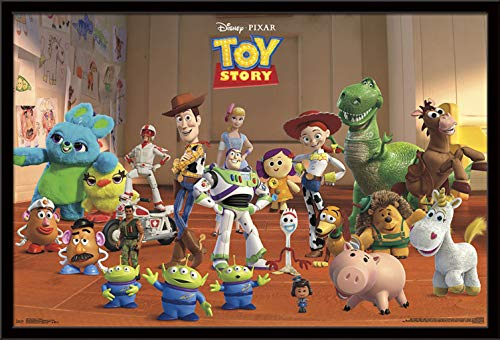 "Trends International Disney Pixar Toy Story 4 - Collage Wall Poster, 22.375"" x 34"", Black Framed Version"
