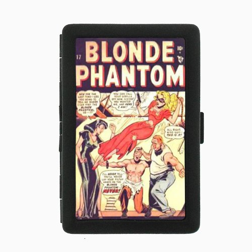 40s Cigarette - Blonde Phantom 1940s Comic Pin-Up Double-Sided Black Color Cigarette Case, ID Holder, and wallet D-382