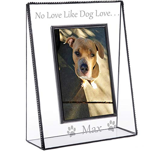 - J Devlin Pic 319-46V EP592 Personalized Dog Picture Frame Tabletop 4 x 6 Vertical Photo Clear Engraved Glass Pet
